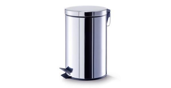 Coș pentru depozitarea gunoiului menajer, fabricat din inox, cu galeată interioară din plastic cu mâner.