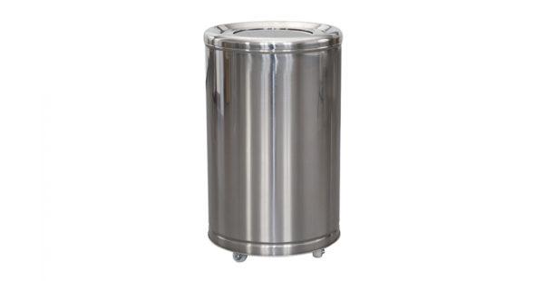 Coș gunoi inox cu galeată interioară metalică și accesorii (mâner și roți).