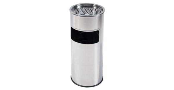 Coș pentru gunoi din inox, cilindric și scrumiera cu sită în partea superioară.