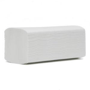 Prosoape de hârtie pliate în V, albe, din celuloză, în două straturi.