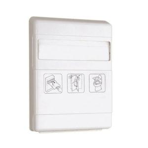 Dispenser pentru acoperitori WC din hârtie biodegradabilă.