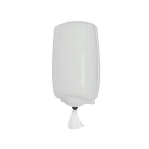 Dispenser prosop rolă cu derulare centrală și gură de livrare ajustabilă.