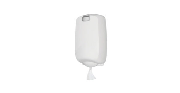 Dispenser prosop rolă cu derulare centrală și gură de livrare fixă.