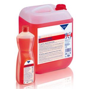 Detergent sanitar acid pentru băi, toalete cu o formulă pe bază de acid sulfamic.